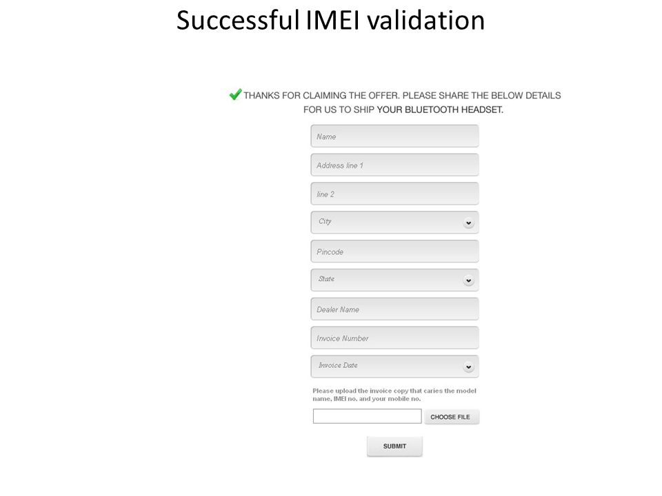 Successful IMEI validation