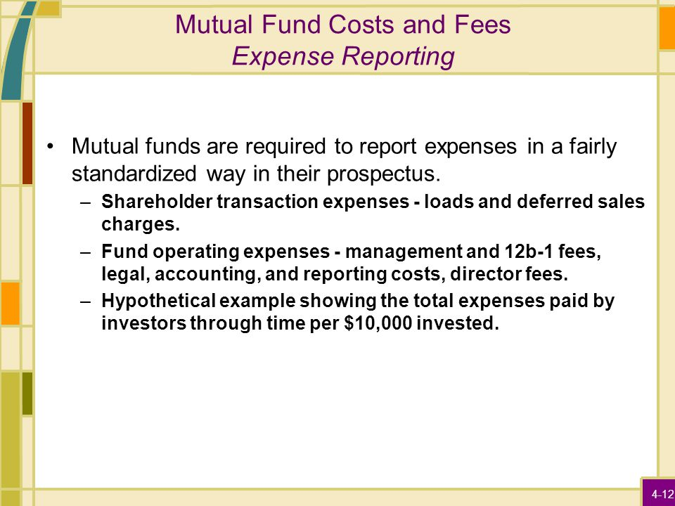 4-12 Mutual Fund Costs and Fees Expense Reporting Mutual funds are required to report expenses in a fairly standardized way in their prospectus. –Shar