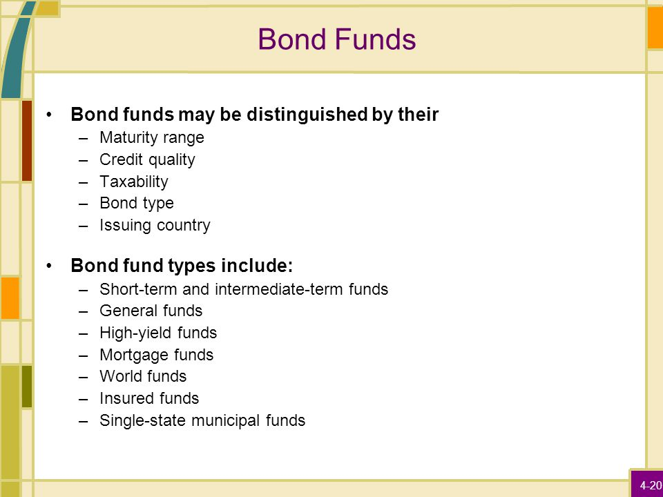 4-20 Bond Funds Bond funds may be distinguished by their –Maturity range –Credit quality –Taxability –Bond type –Issuing country Bond fund types inclu