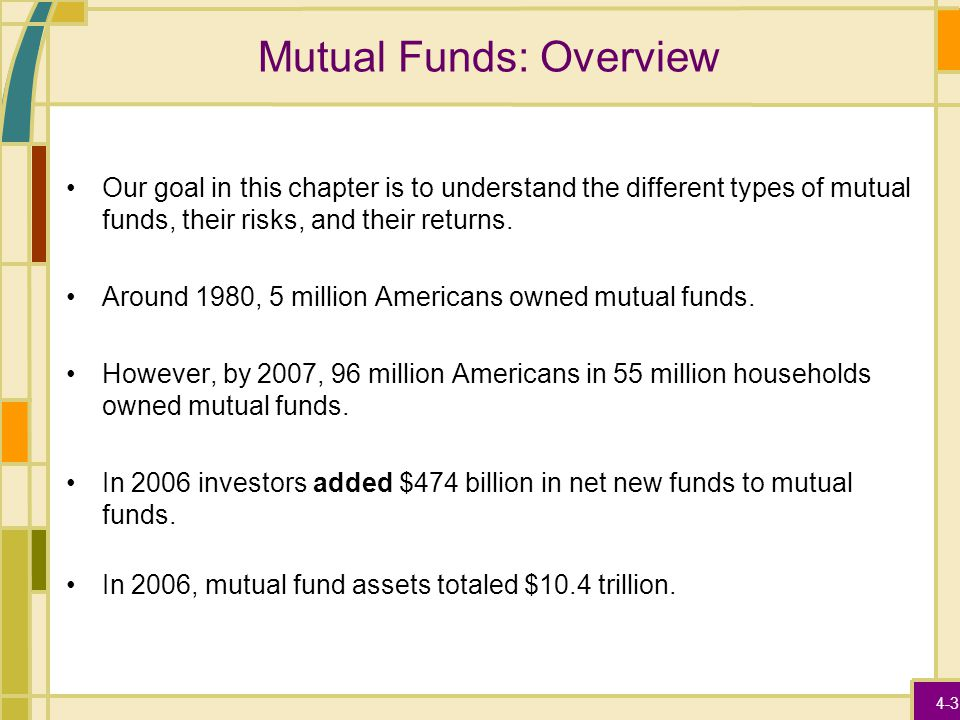 4-3 Mutual Funds: Overview Our goal in this chapter is to understand the different types of mutual funds, their risks, and their returns. Around 1980,