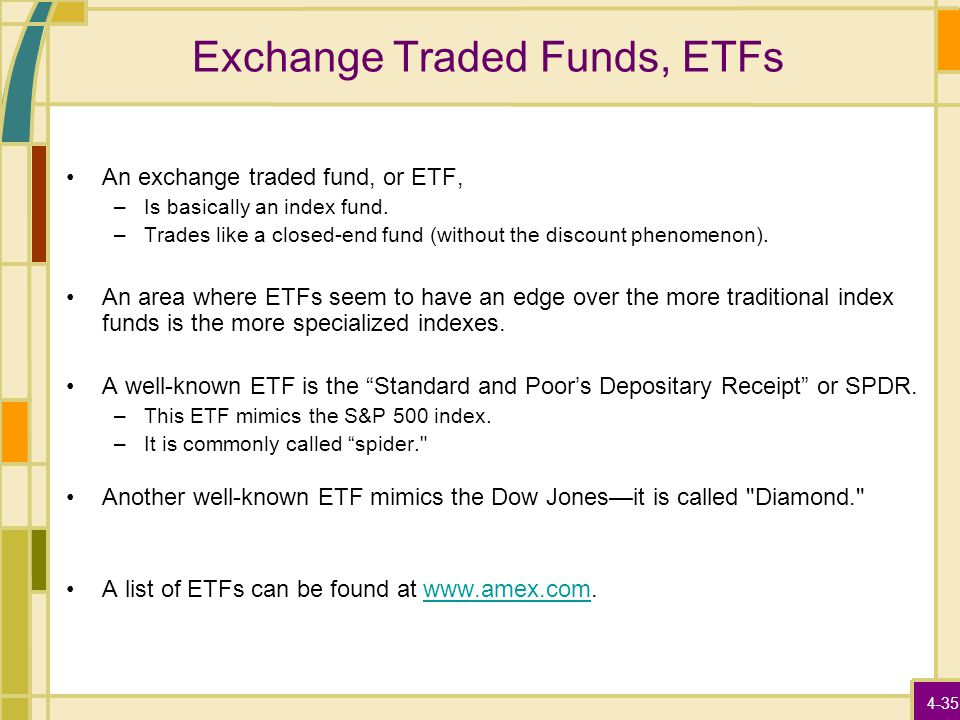 4-35 Exchange Traded Funds, ETFs An exchange traded fund, or ETF, –Is basically an index fund. –Trades like a closed-end fund (without the discount ph