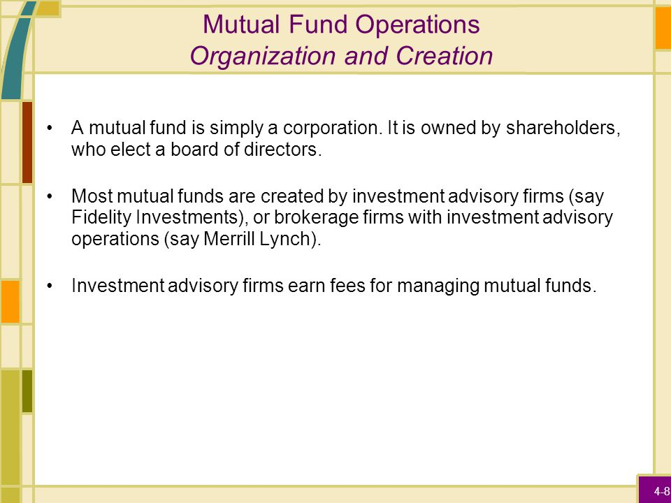 4-8 Mutual Fund Operations Organization and Creation A mutual fund is simply a corporation. It is owned by shareholders, who elect a board of director