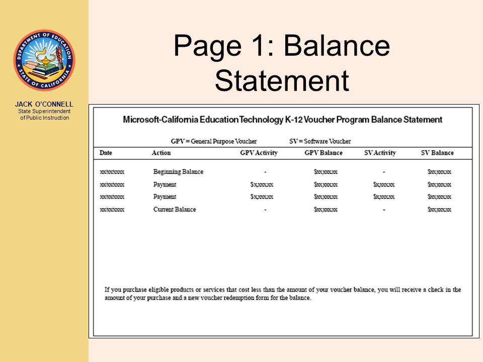 Page 1: Balance Statement