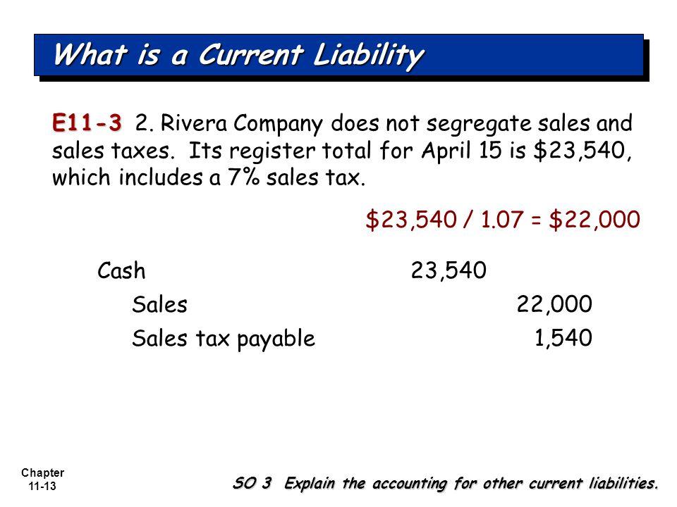 Chapter 11-13 E11-3 E11-3 2. Rivera Company does not segregate sales and sales taxes.