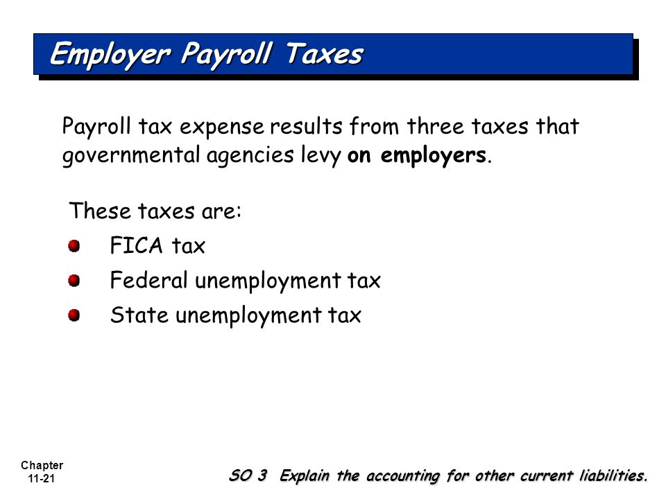Chapter 11-21 Payroll tax expense results from three taxes that governmental agencies levy on employers.