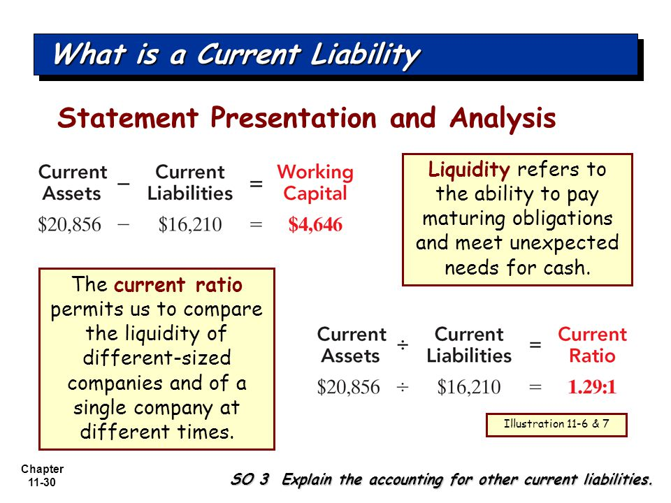 Chapter 11-30 Statement Presentation and Analysis Liquidity refers to the ability to pay maturing obligations and meet unexpected needs for cash.
