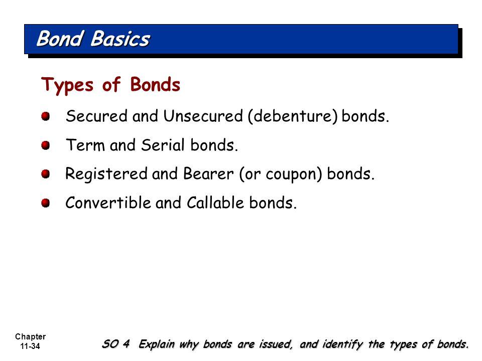 Chapter 11-34 Types of Bonds Secured and Unsecured (debenture) bonds.