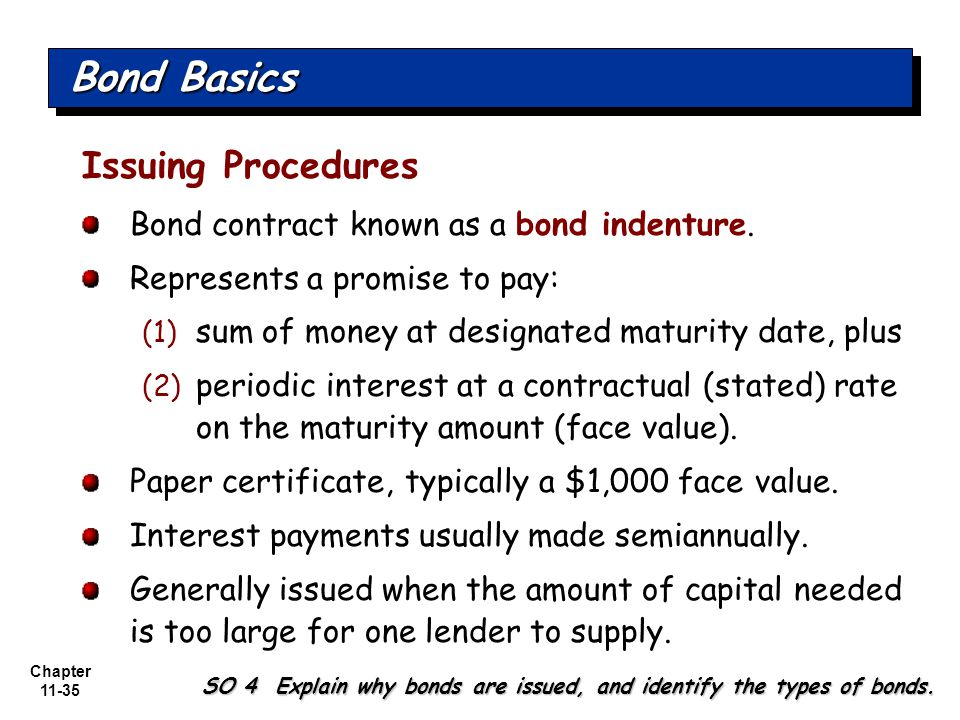 Chapter 11-35 Issuing Procedures Bond contract known as a bond indenture.