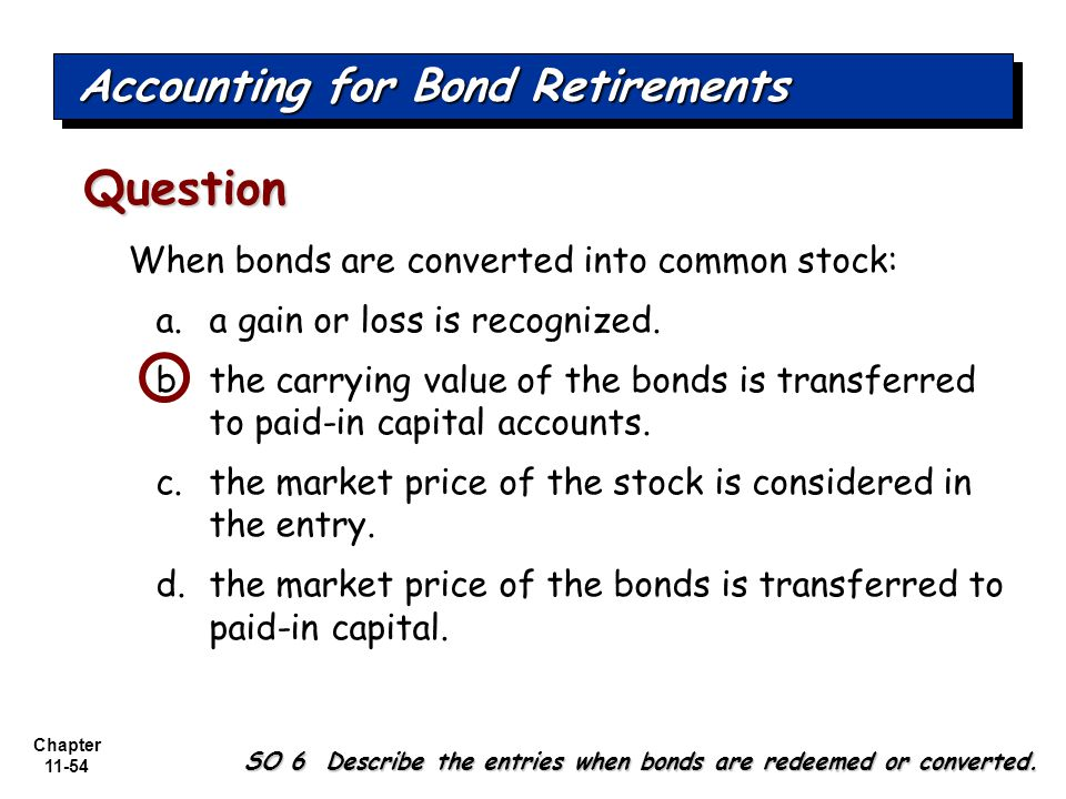 Chapter 11-54 When bonds are converted into common stock: a.a gain or loss is recognized.