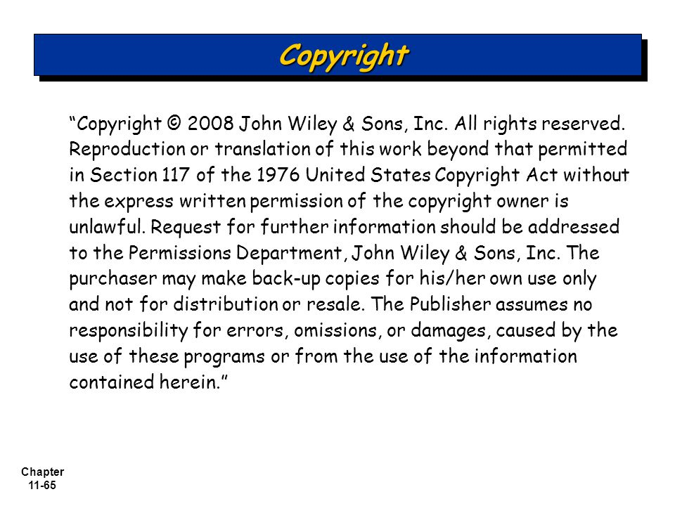Chapter 11-65 Copyright © 2008 John Wiley & Sons, Inc.