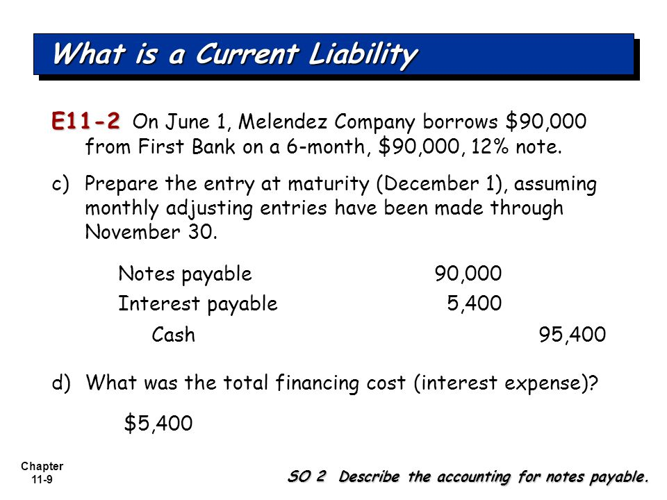 Chapter 11-9 E11-2 E11-2 On June 1, Melendez Company borrows $90,000 from First Bank on a 6-month, $90,000, 12% note.