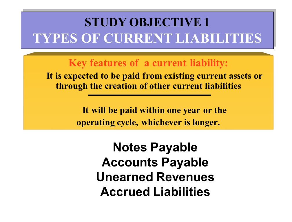 STUDY OBJECTIVE 2 NOTES PAYABLE STUDY OBJECTIVE 2 NOTES PAYABLE Key features of a note payable : Promissory note Interest Notes due within a year are current liabilities