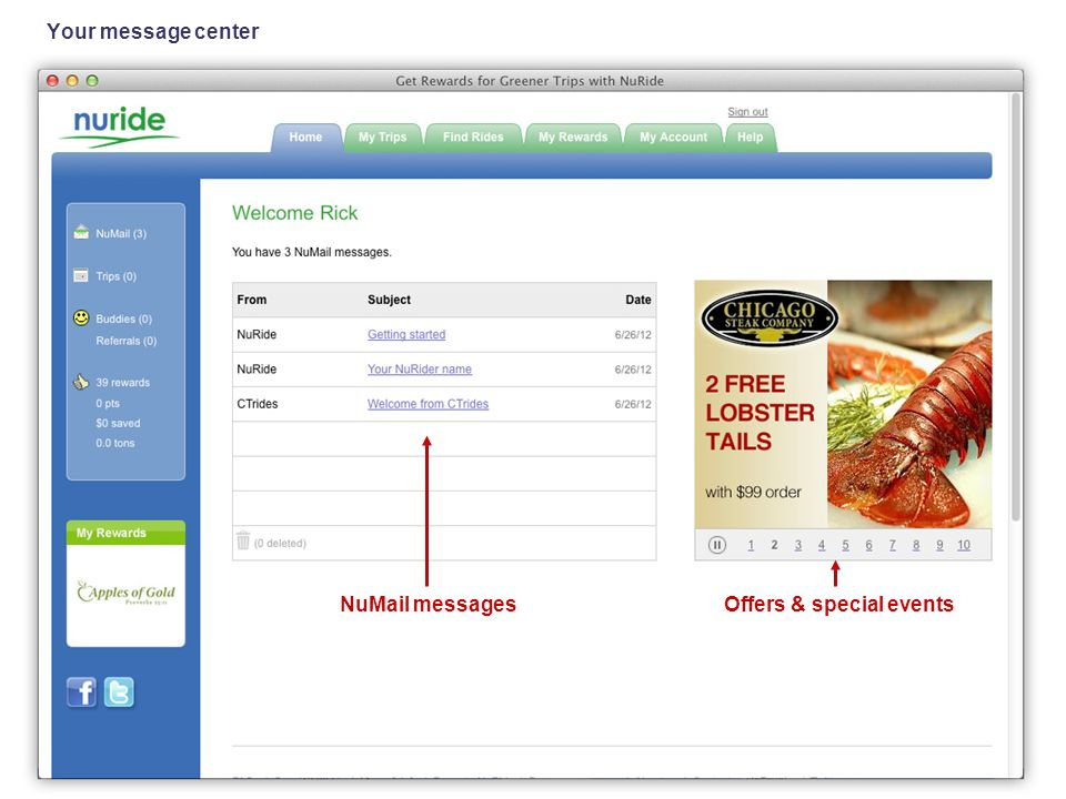 Your message center NuMail messagesOffers & special events