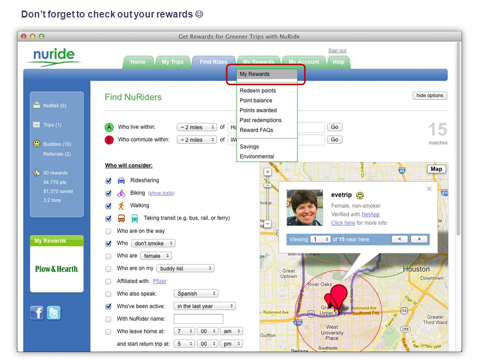 See the money you saved, the emission you prevented, and the points you've earned Click to redeem your points for rewards