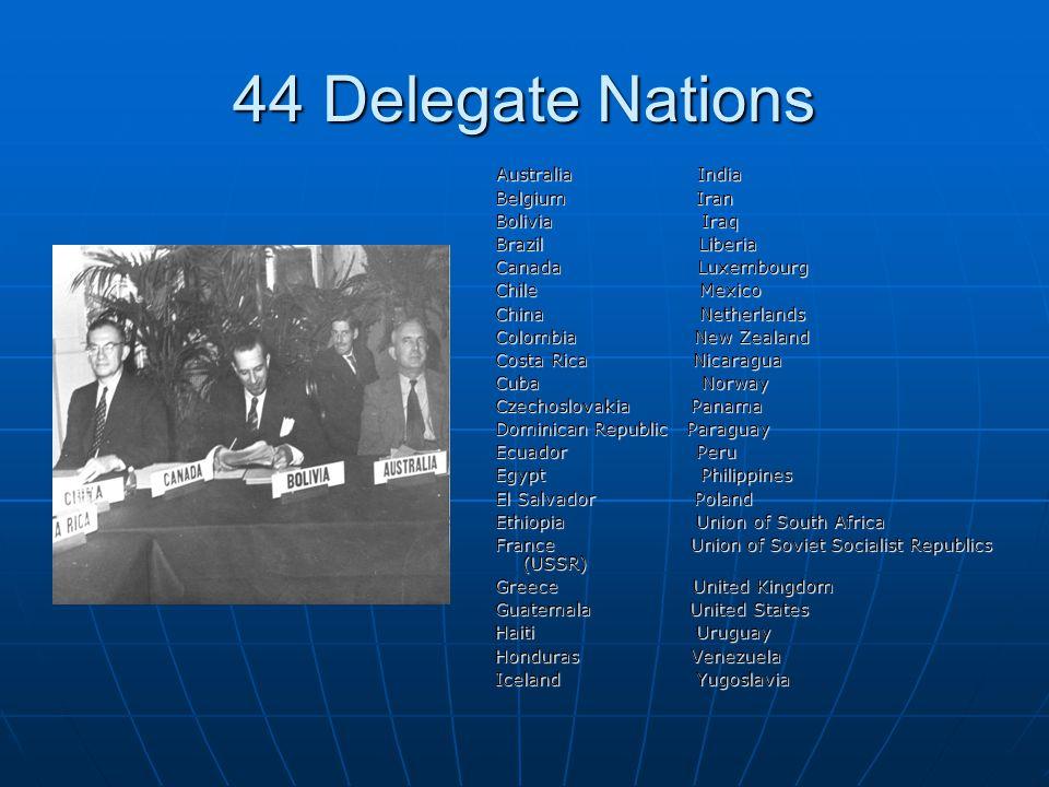44 Delegate Nations Australia India Australia India Belgium Iran Belgium Iran Bolivia Iraq Bolivia Iraq Brazil Liberia Brazil Liberia Canada Luxembour