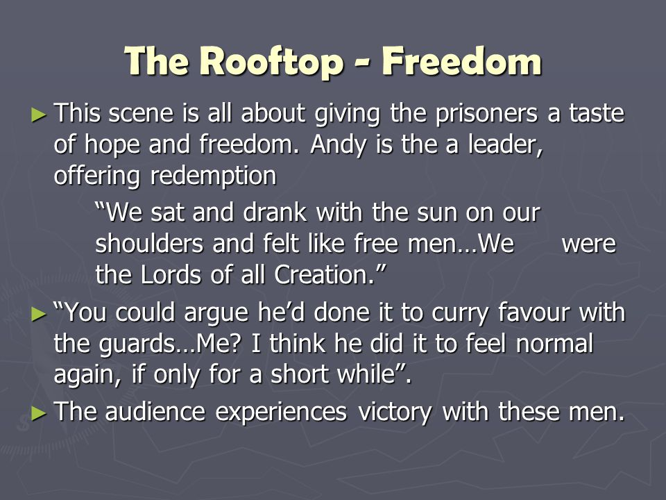 """The Rooftop - Freedom ► This scene is all about giving the prisoners a taste of hope and freedom. Andy is the a leader, offering redemption """"We sat an"""