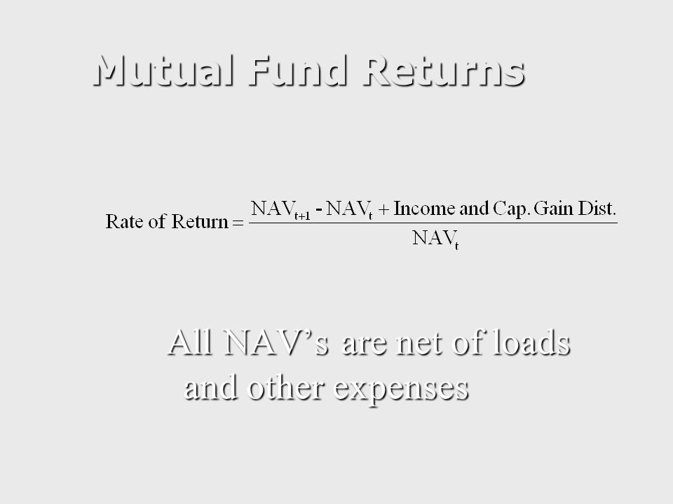 Mutual Fund Returns All NAV's are net of loads and other expenses
