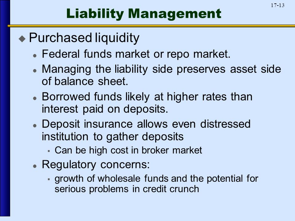17-13 Liability Management  Purchased liquidity Federal funds market or repo market.