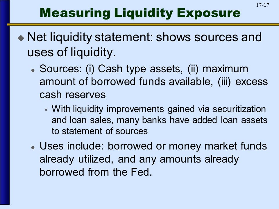 17-17 Measuring Liquidity Exposure  Net liquidity statement: shows sources and uses of liquidity.