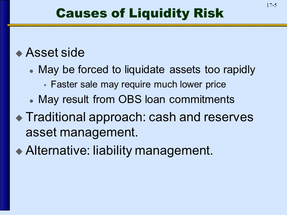 17-5 Causes of Liquidity Risk  Asset side May be forced to liquidate assets too rapidly  Faster sale may require much lower price May result from OBS loan commitments  Traditional approach: cash and reserves asset management.