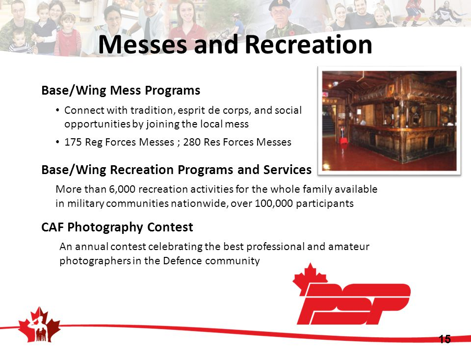 Messes and Recreation Base/Wing Mess Programs Connect with tradition, esprit de corps, and social opportunities by joining the local mess 175 Reg Forc