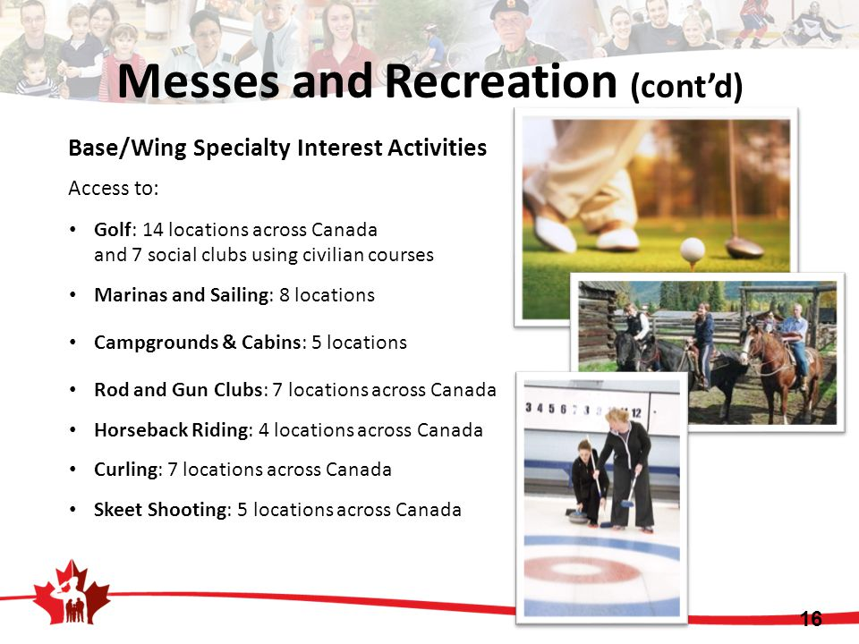 Base/Wing Specialty Interest Activities Access to: Golf: 14 locations across Canada and 7 social clubs using civilian courses Marinas and Sailing: 8 l