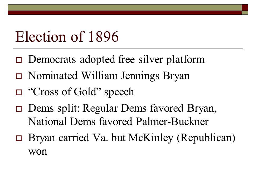 Election of 1896  Democrats adopted free silver platform  Nominated William Jennings Bryan  Cross of Gold speech  Dems split: Regular Dems favored Bryan, National Dems favored Palmer-Buckner  Bryan carried Va.