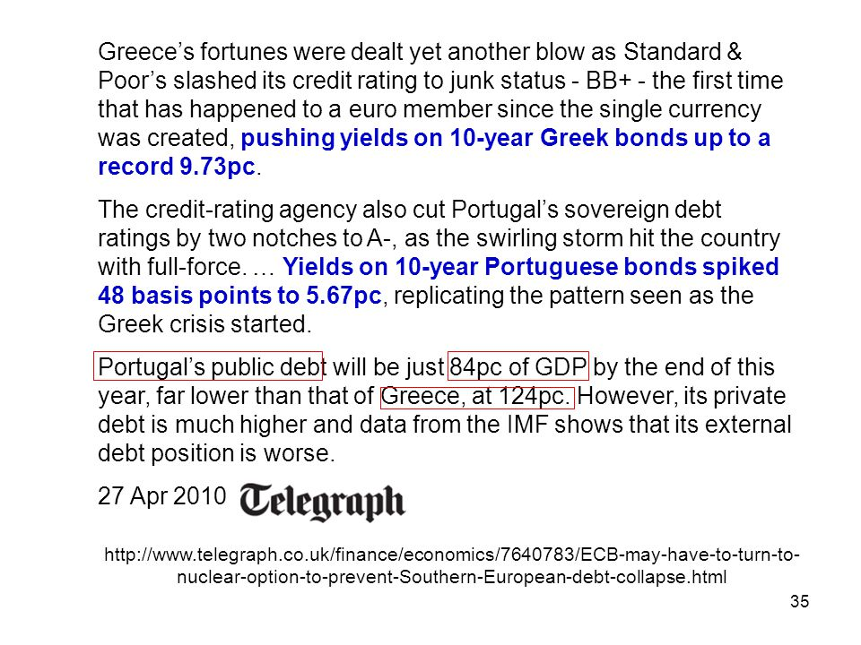35 Greece's fortunes were dealt yet another blow as Standard & Poor's slashed its credit rating to junk status - BB+ - the first time that has happene
