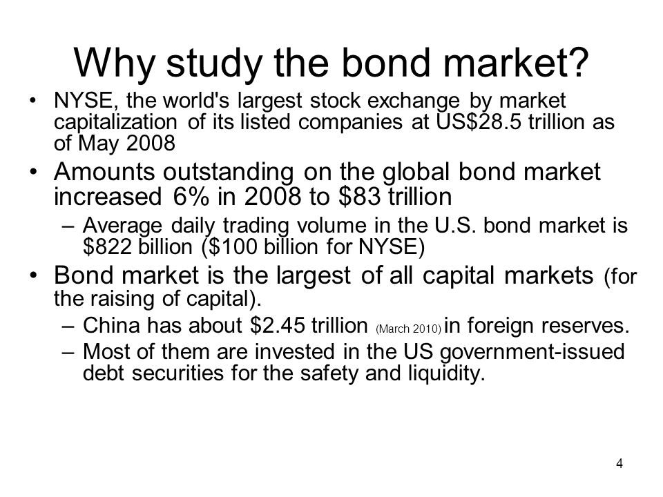 4 Why study the bond market? NYSE, the world's largest stock exchange by market capitalization of its listed companies at US$28.5 trillion as of May 2