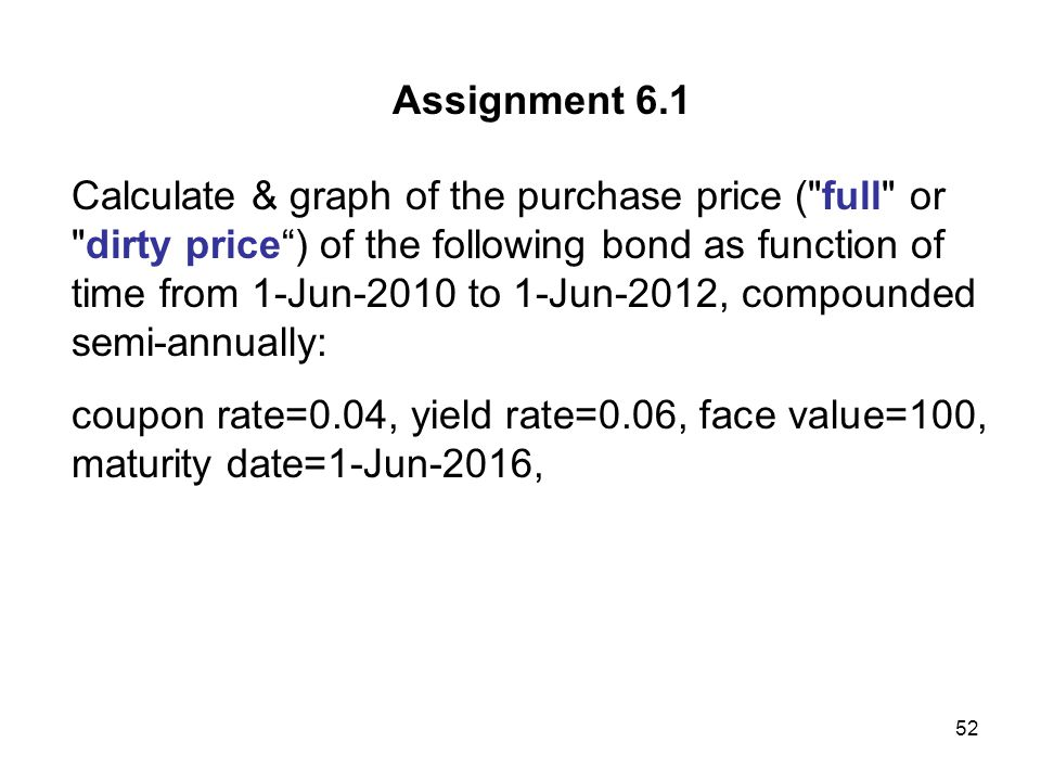 52 Assignment 6.1 Calculate & graph of the purchase price (