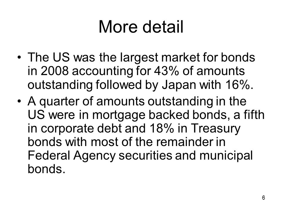 6 More detail The US was the largest market for bonds in 2008 accounting for 43% of amounts outstanding followed by Japan with 16%. A quarter of amoun