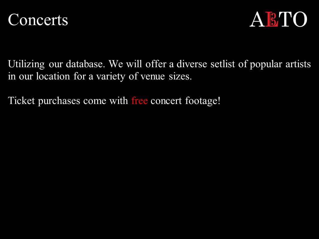 Concerts Utilizing our database.