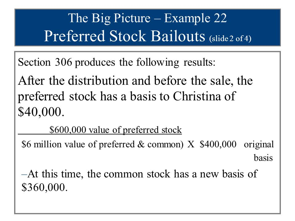 The Big Picture – Example 22 Preferred Stock Bailouts (slide 2 of 4) Section 306 produces the following results: After the distribution and before the