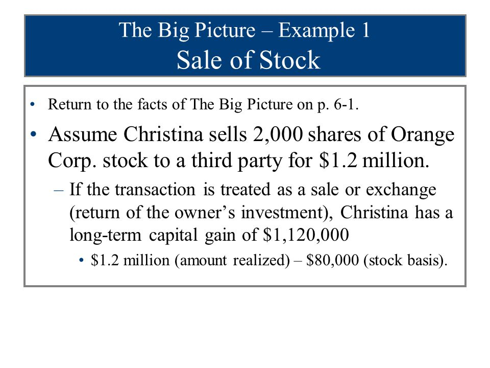 The Big Picture – Example 1 Sale of Stock Return to the facts of The Big Picture on p. 6-1. Assume Christina sells 2,000 shares of Orange Corp. stock