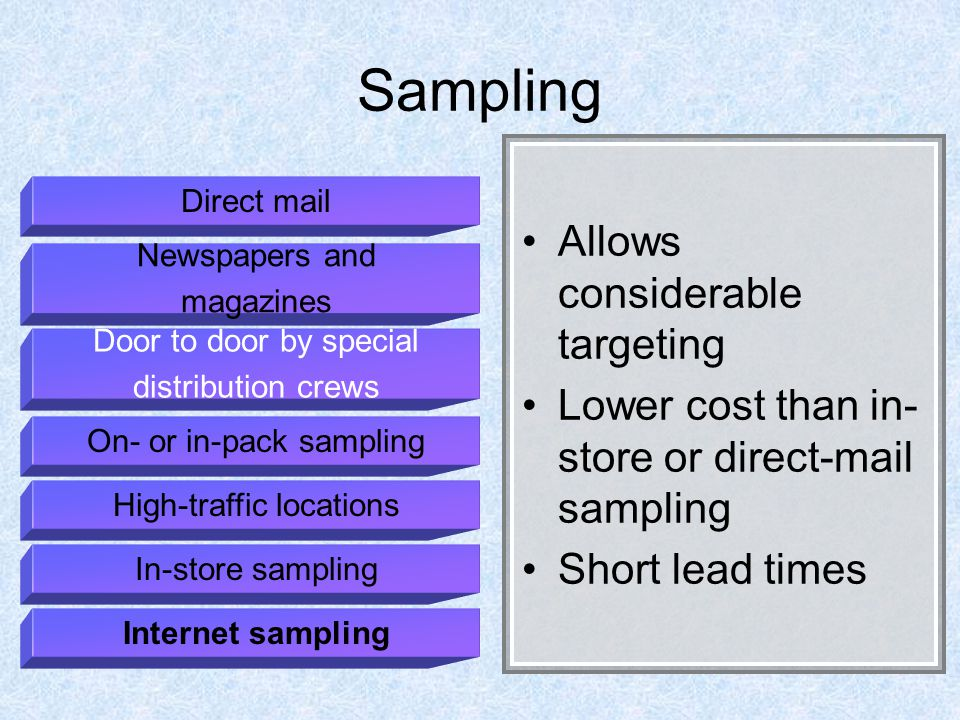 Sampling Allows considerable targeting Lower cost than in- store or direct-mail sampling Short lead times Direct mail Newspapers and magazines Door to door by special distribution crews On- or in-pack sampling High-traffic locations In-store sampling Internet sampling