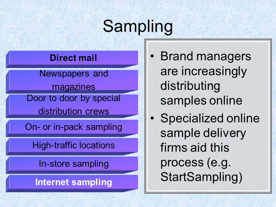 Sampling Brand managers are increasingly distributing samples online Specialized online sample delivery firms aid this process (e.g.