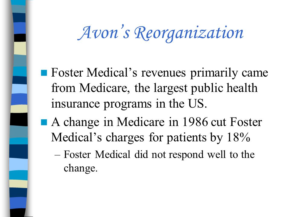Avon's Reorganization Foster Medical's revenues primarily came from Medicare, the largest public health insurance programs in the US.