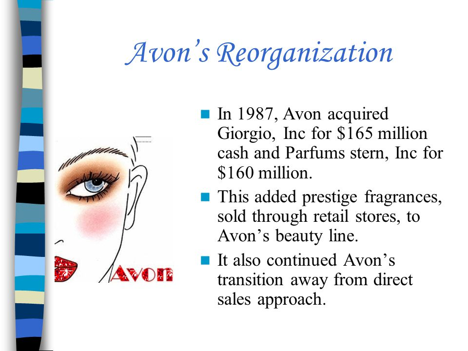 Avon's Reorganization In 1987, Avon acquired Giorgio, Inc for $165 million cash and Parfums stern, Inc for $160 million.