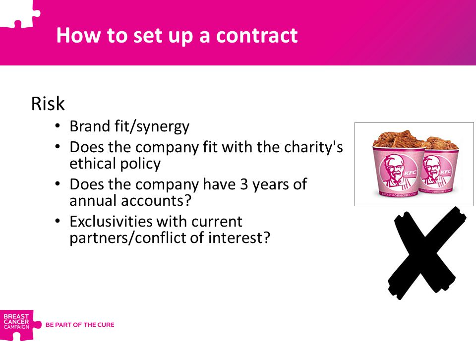 How to set up a contract Risk Brand fit/synergy Does the company fit with the charity's ethical policy Does the company have 3 years of annual account