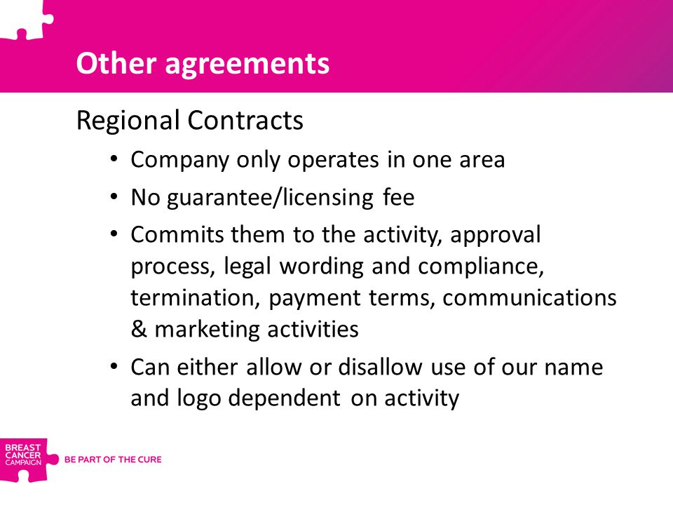 Other agreements Regional Contracts Company only operates in one area No guarantee/licensing fee Commits them to the activity, approval process, legal