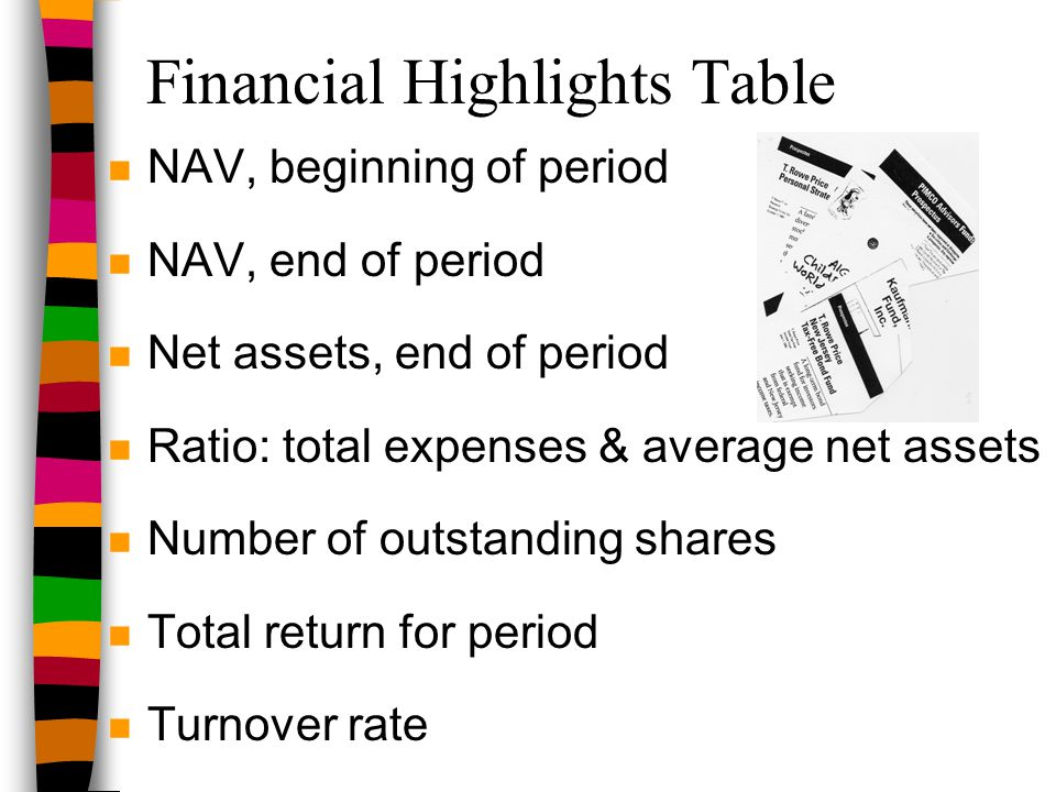 Financial Highlights Table n NAV, beginning of period n NAV, end of period n Net assets, end of period n Ratio: total expenses & average net assets n