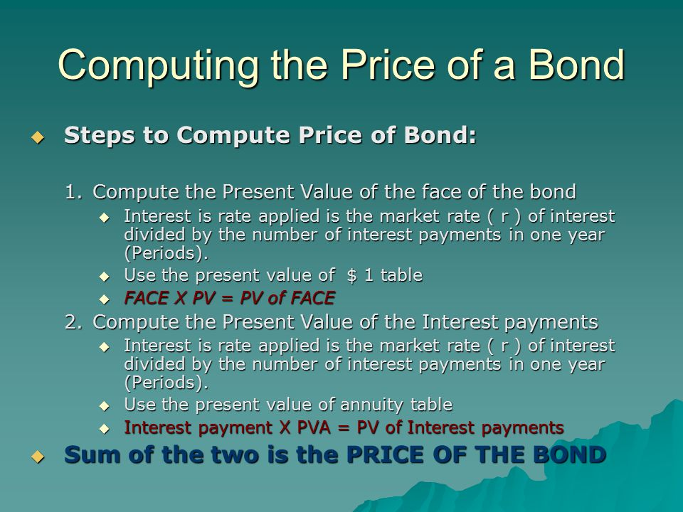 Computing the Price of a Bond  Steps to Compute Price of Bond: 1.Compute the Present Value of the face of the bond  Interest is rate applied is the market rate ( r ) of interest divided by the number of interest payments in one year (Periods).