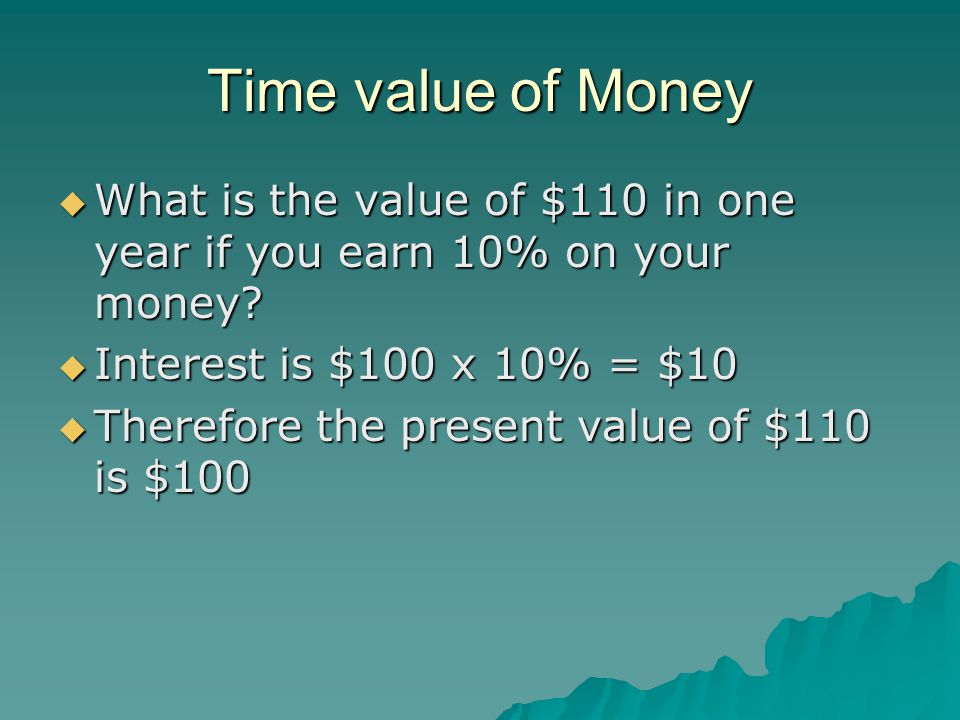 Time value of Money  What is the value of $110 in one year if you earn 10% on your money.