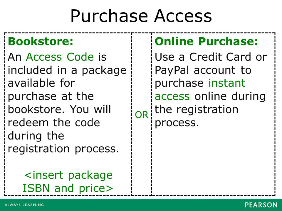 Purchase Access Bookstore: An Access Code is included in a package available for purchase at the bookstore. You will redeem the code during the regist