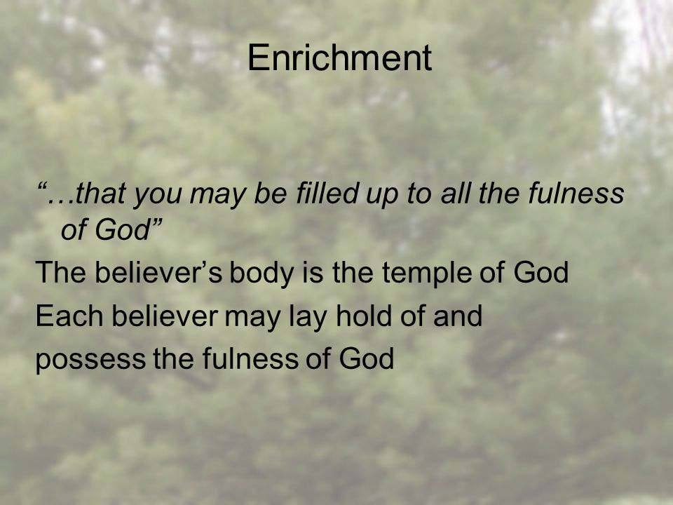 …that you may be filled up to all the fulness of God The believer's body is the temple of God Each believer may lay hold of and possess the fulness of God Enrichment