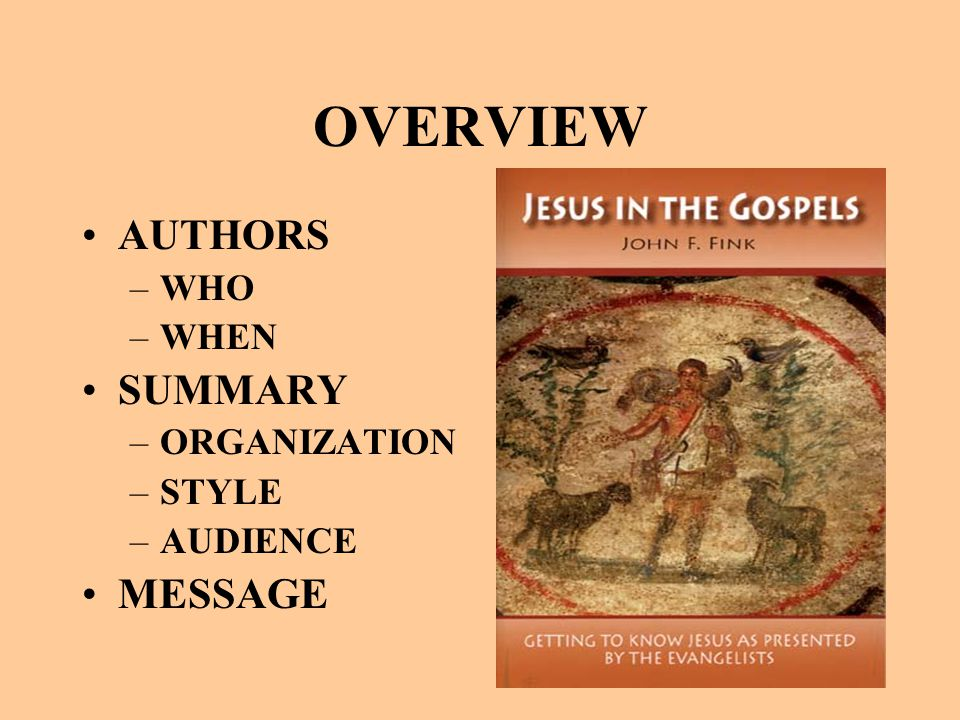 OVERVIEW AUTHORS –WHO –WHEN SUMMARY –ORGANIZATION –STYLE –AUDIENCE MESSAGE