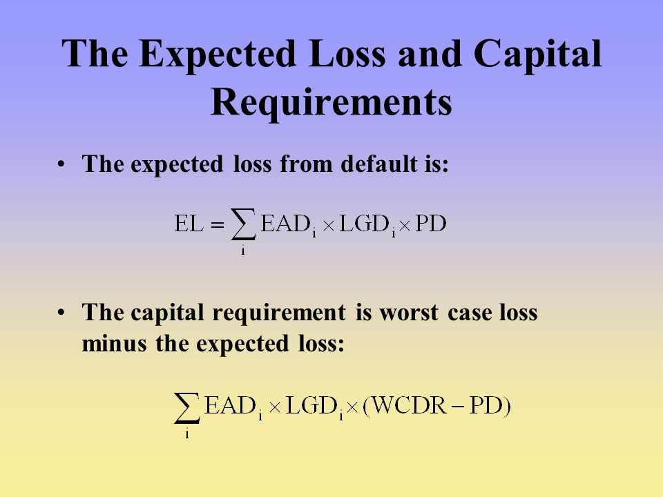 The Expected Loss and Capital Requirements The expected loss from default is: The capital requirement is worst case loss minus the expected loss: