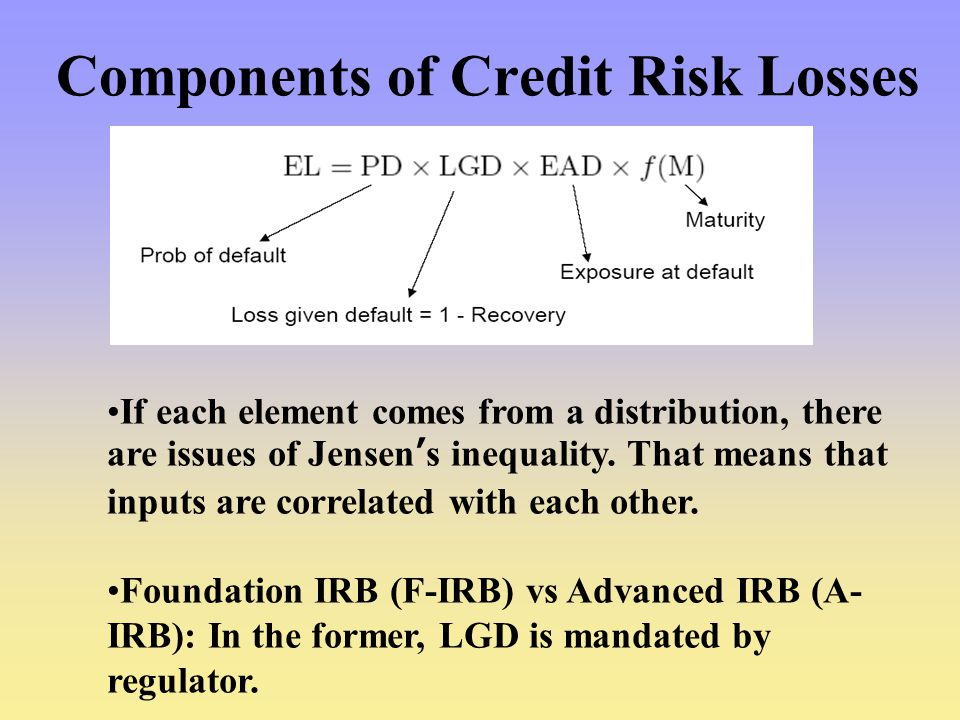 Components of Credit Risk Losses If each element comes from a distribution, there are issues of Jensen's inequality.