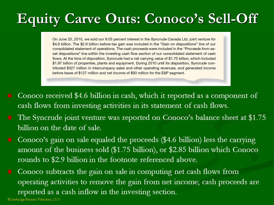 ©Cambridge Business Publishers, 2013 Equity Carve Outs: Conoco's Sell-Off Conoco received $4.6 billion in cash, which it reported as a component of cash flows from investing activities in its statement of cash flows.