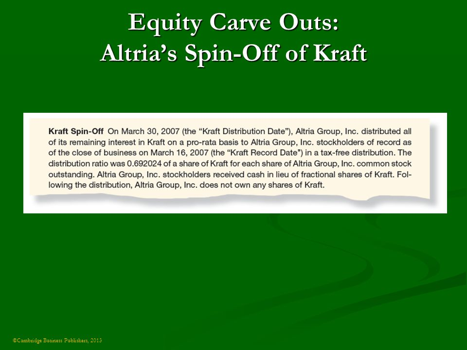 ©Cambridge Business Publishers, 2013 Equity Carve Outs: Altria's Spin-Off of Kraft